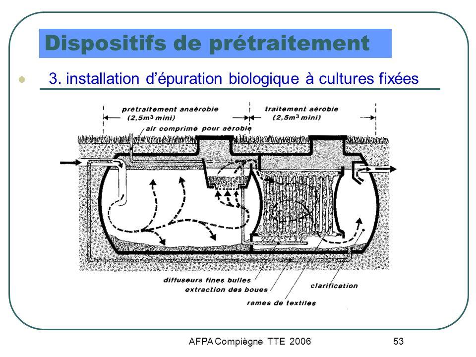 AFPA Compiègne TTE 2006 53 Dispositifs de prétraitement 3. installation dépuration biologique à cultures fixées