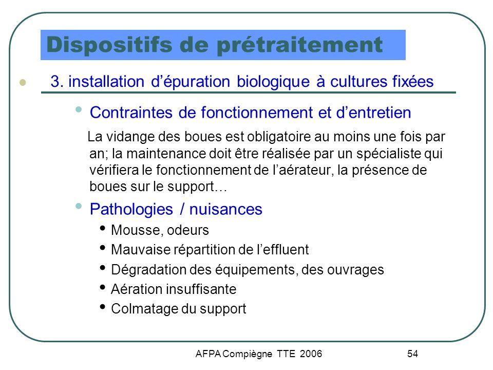 AFPA Compiègne TTE 2006 54 Dispositifs de prétraitement 3. installation dépuration biologique à cultures fixées Contraintes de fonctionnement et dentr