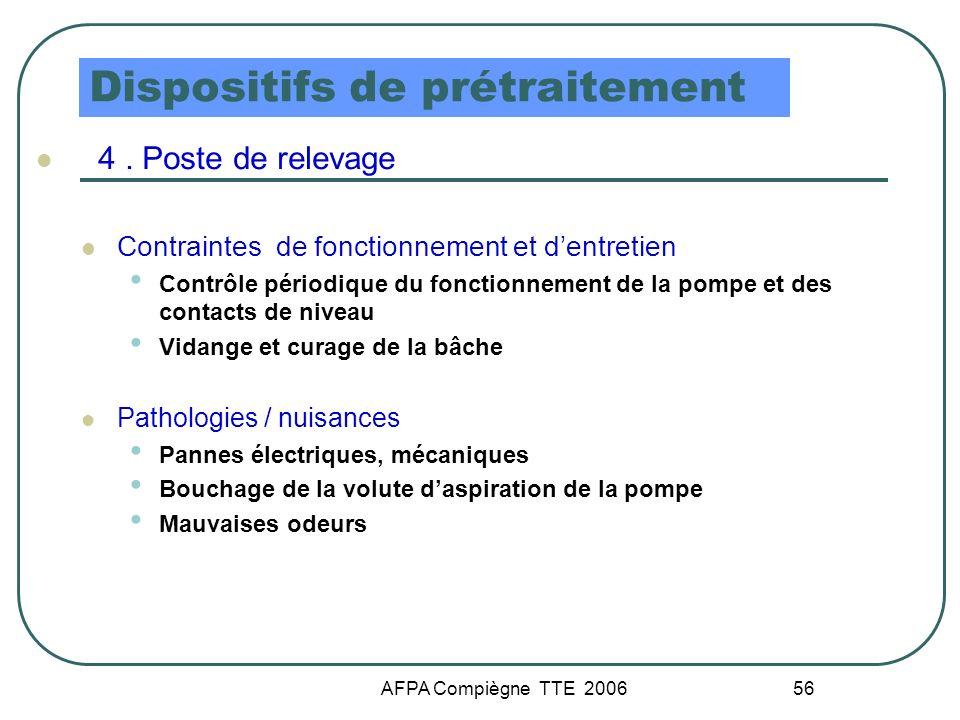 AFPA Compiègne TTE 2006 56 Dispositifs de prétraitement 4. Poste de relevage Contraintes de fonctionnement et dentretien Contrôle périodique du foncti