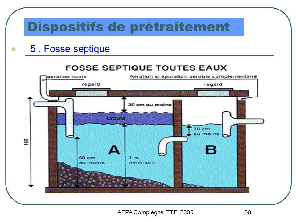 AFPA Compiègne TTE 2006 58 Dispositifs de prétraitement 5. Fosse septique