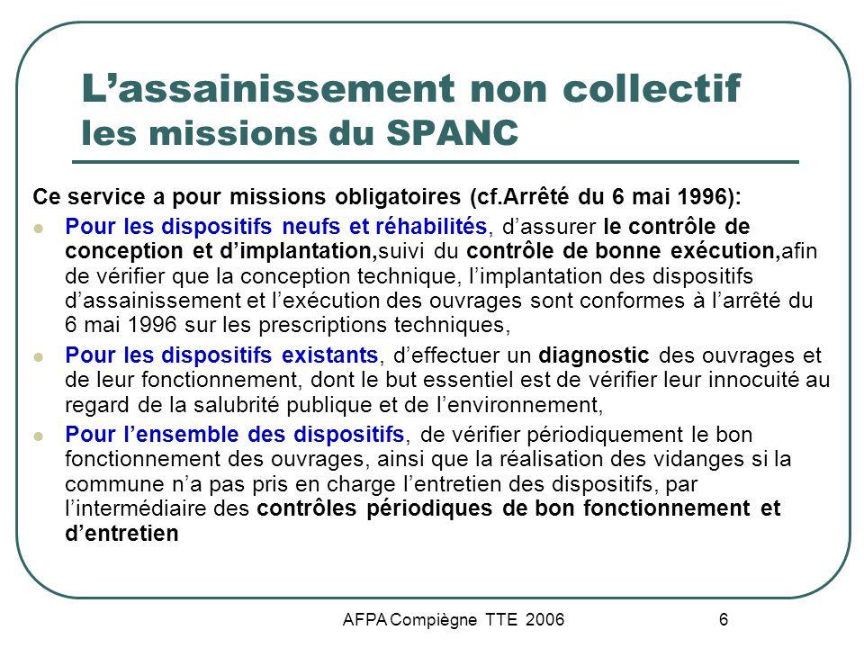 AFPA Compiègne TTE 2006 6 Lassainissement non collectif les missions du SPANC Ce service a pour missions obligatoires (cf.Arrêté du 6 mai 1996): Pour
