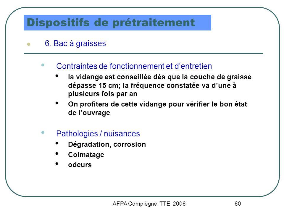 AFPA Compiègne TTE 2006 60 Dispositifs de prétraitement 6. Bac à graisses Contraintes de fonctionnement et dentretien la vidange est conseillée dès qu