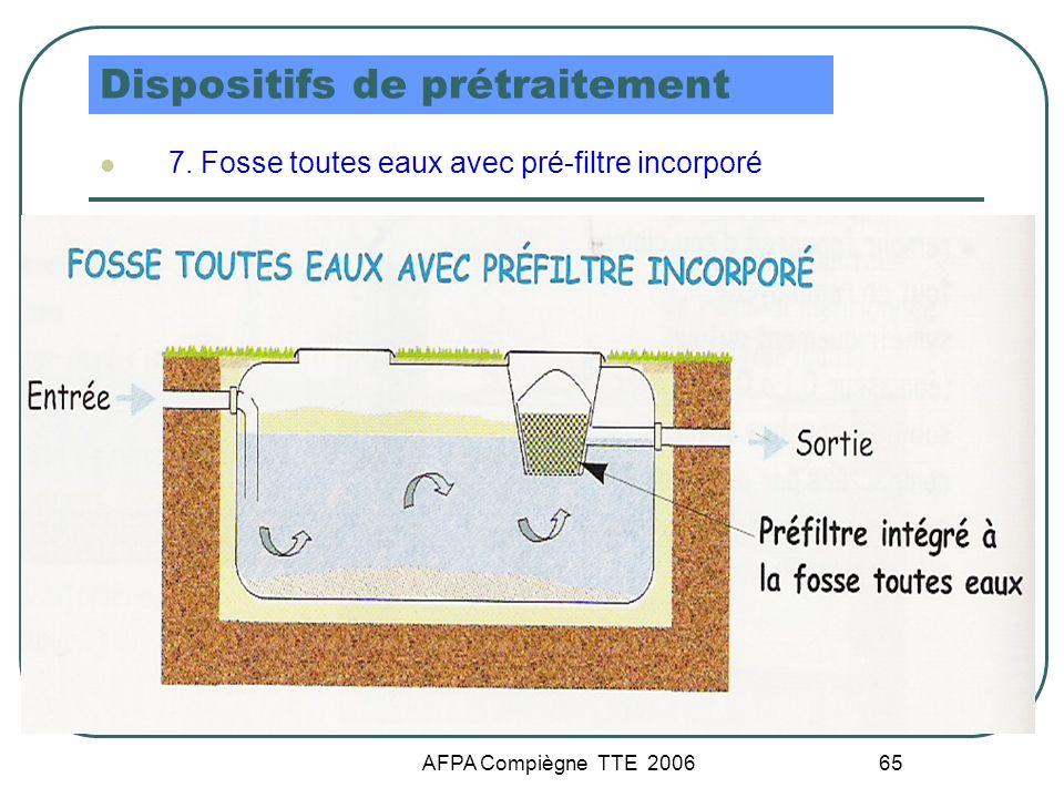 AFPA Compiègne TTE 2006 65 Dispositifs de prétraitement 7. Fosse toutes eaux avec pré-filtre incorporé