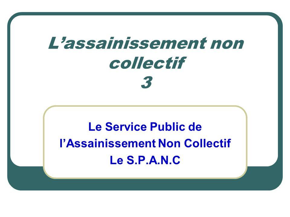 Lassainissement non collectif 3 Le Service Public de lAssainissement Non Collectif Le S.P.A.N.C