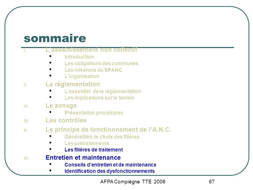 AFPA Compiègne TTE 2006 67 sommaire I. Lassainissement non collectif Introduction Les obligations des communes Les missions du SPANC Lorganisation II.