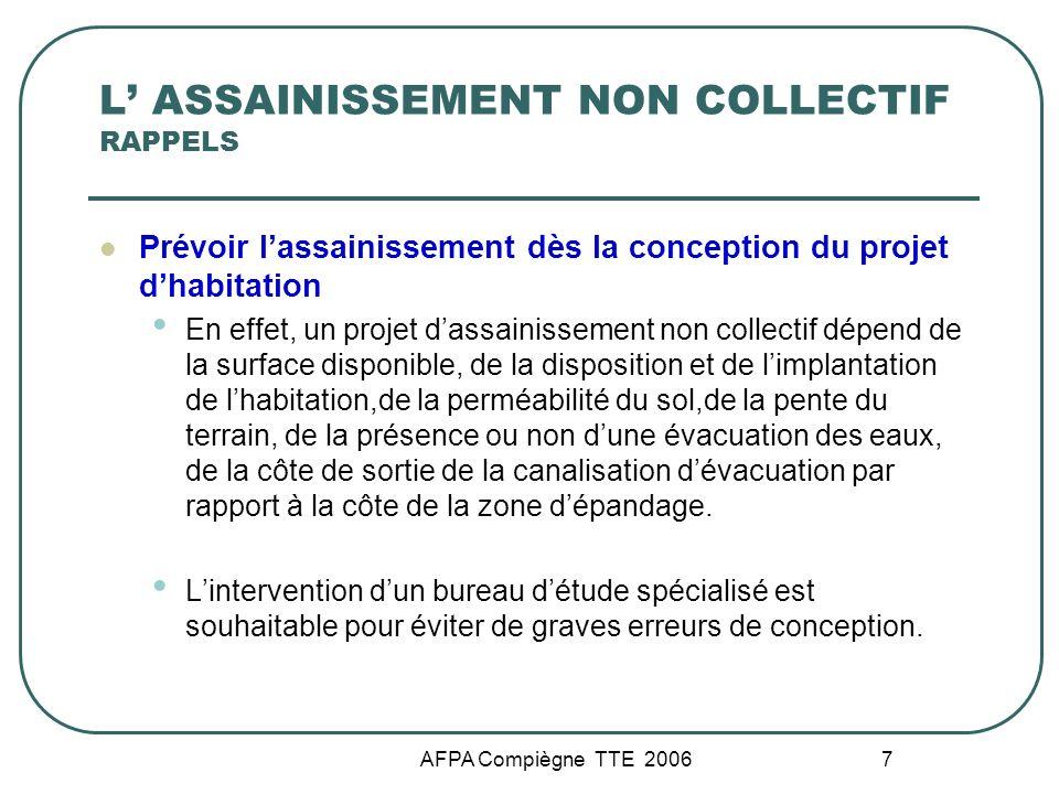 AFPA Compiègne TTE 2006 7 L ASSAINISSEMENT NON COLLECTIF RAPPELS Prévoir lassainissement dès la conception du projet dhabitation En effet, un projet d