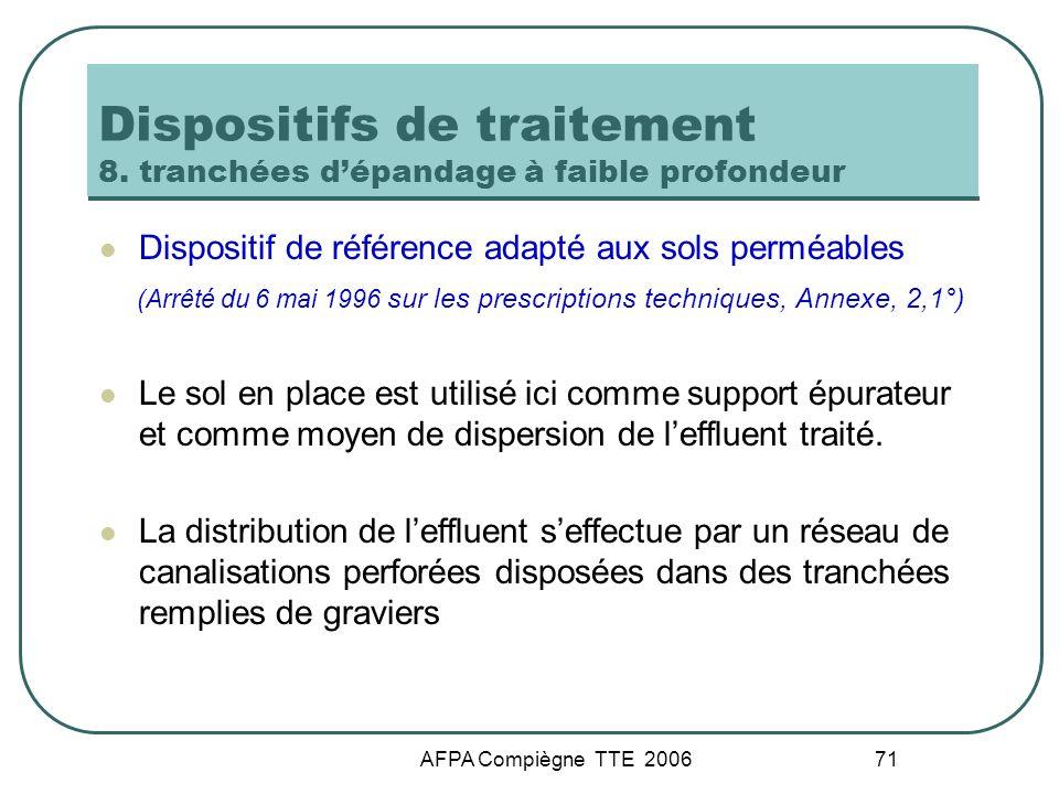 AFPA Compiègne TTE 2006 71 Dispositifs de traitement 8. tranchées dépandage à faible profondeur Dispositif de référence adapté aux sols perméables (Ar