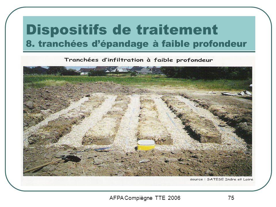 AFPA Compiègne TTE 2006 75 Dispositifs de traitement 8. tranchées dépandage à faible profondeur