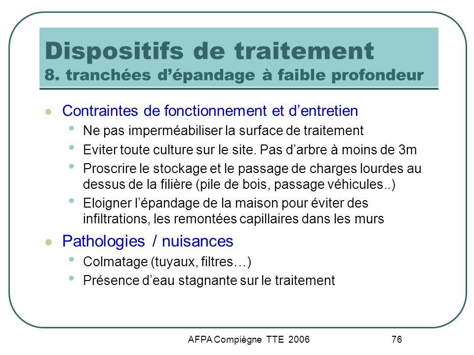 AFPA Compiègne TTE 2006 76 Dispositifs de traitement 8. tranchées dépandage à faible profondeur Contraintes de fonctionnement et dentretien Ne pas imp