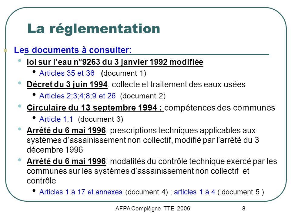 AFPA Compiègne TTE 2006 8 La réglementation Les documents à consulter: loi sur leau n°9263 du 3 janvier 1992 modifiée Articles 35 et 36 (document 1) D