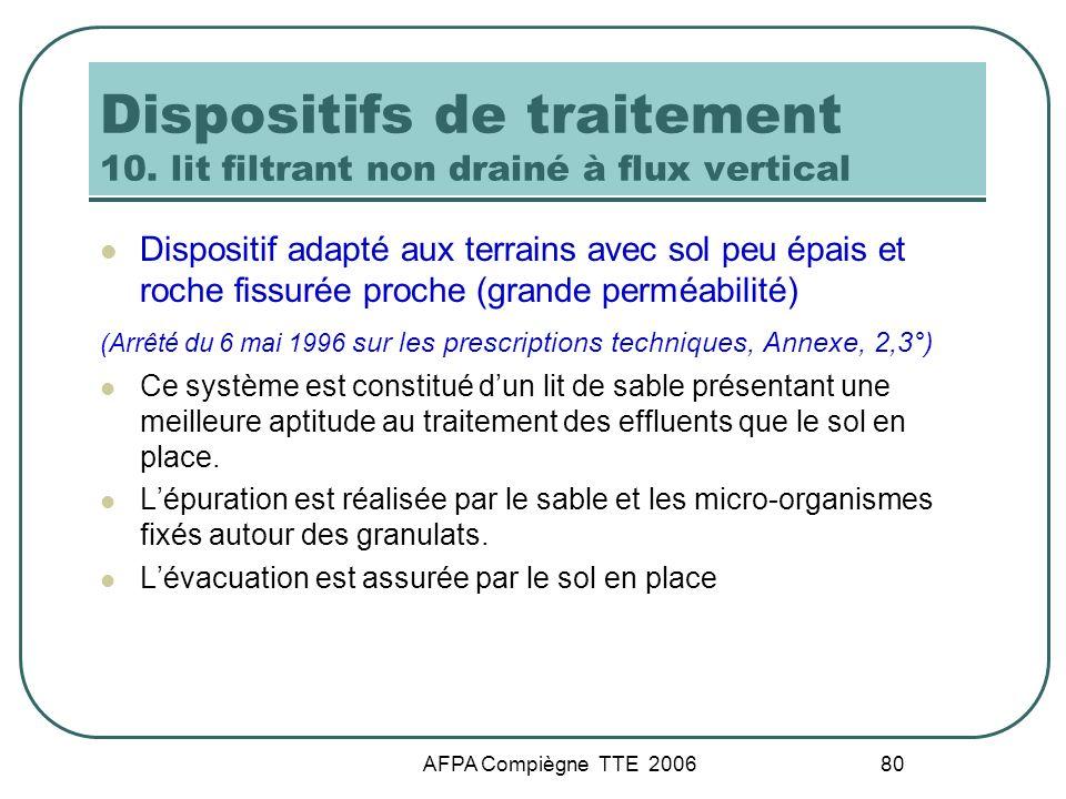 AFPA Compiègne TTE 2006 80 Dispositifs de traitement 10. lit filtrant non drainé à flux vertical Dispositif adapté aux terrains avec sol peu épais et