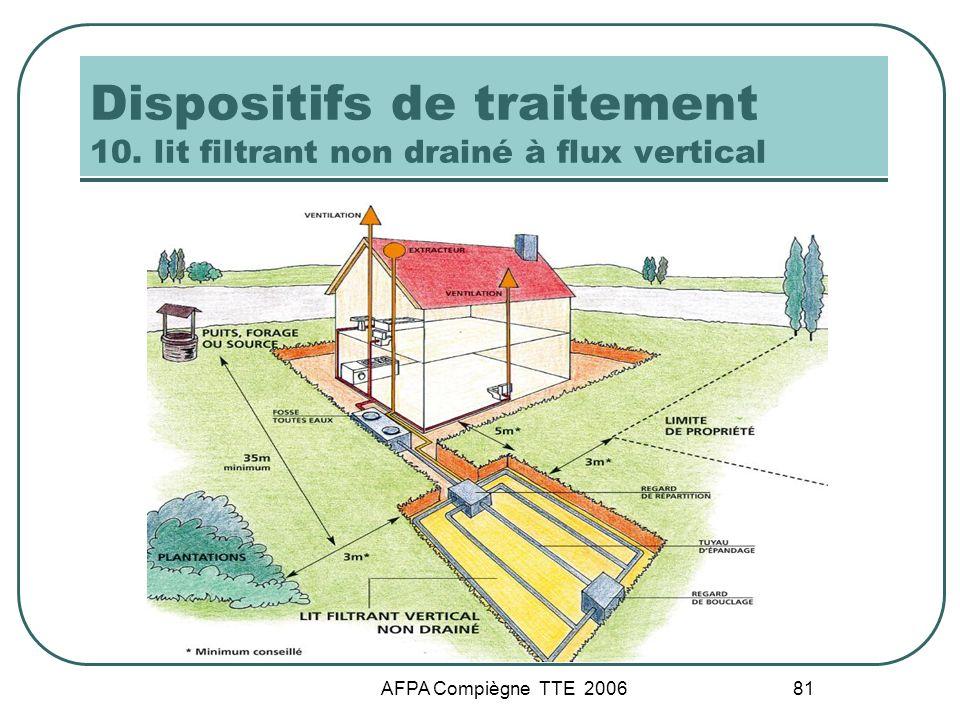 AFPA Compiègne TTE 2006 81 Dispositifs de traitement 10. lit filtrant non drainé à flux vertical