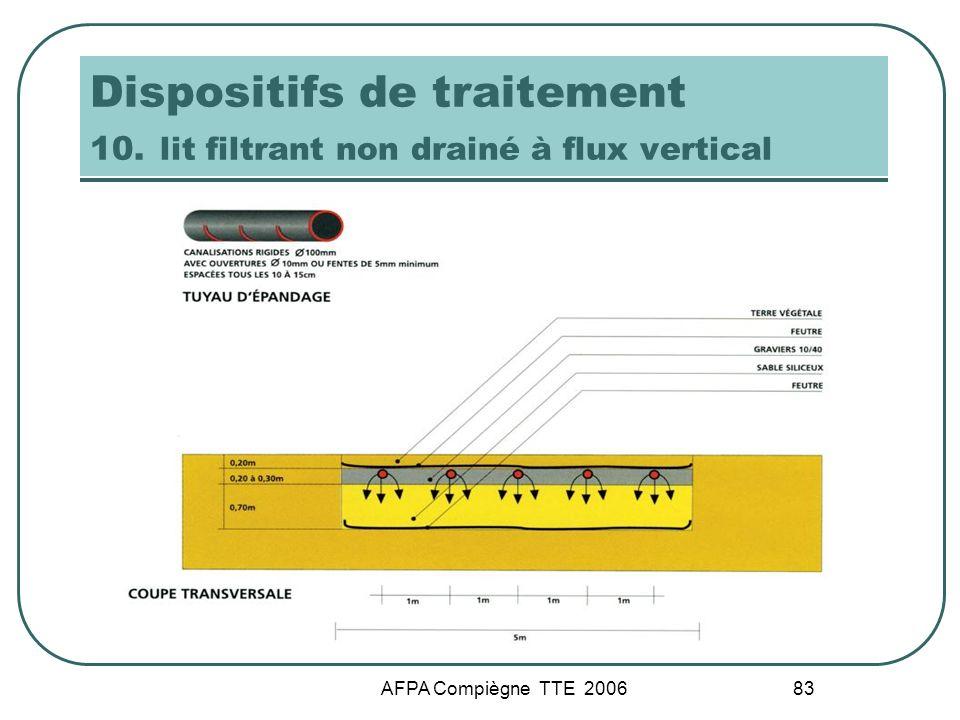 AFPA Compiègne TTE 2006 83 Dispositifs de traitement 10. lit filtrant non drainé à flux vertical