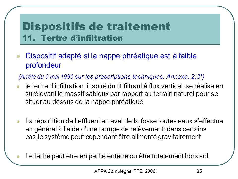 AFPA Compiègne TTE 2006 85 Dispositifs de traitement 11. Tertre dinfiltration Dispositif adapté si la nappe phréatique est à faible profondeur (Arrêté