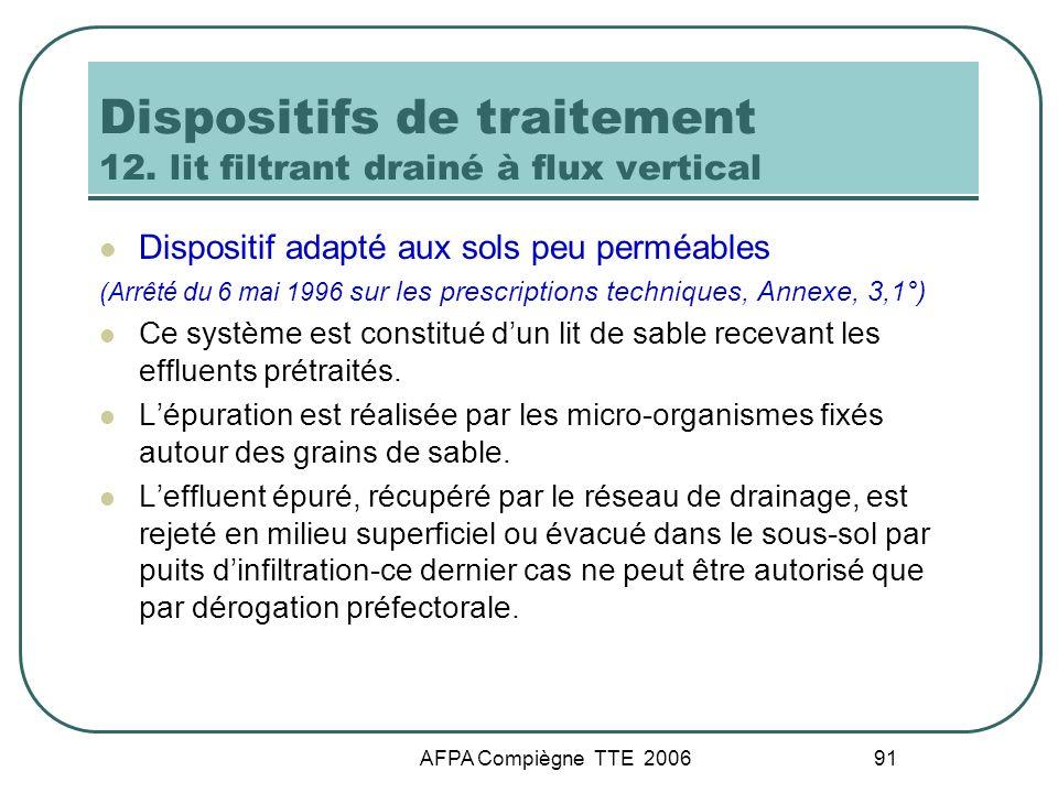 AFPA Compiègne TTE 2006 91 Dispositifs de traitement 12. lit filtrant drainé à flux vertical Dispositif adapté aux sols peu perméables (Arrêté du 6 ma