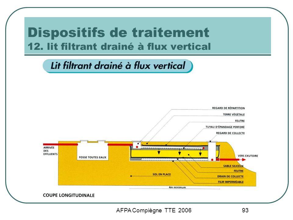 AFPA Compiègne TTE 2006 93 Dispositifs de traitement 12. lit filtrant drainé à flux vertical