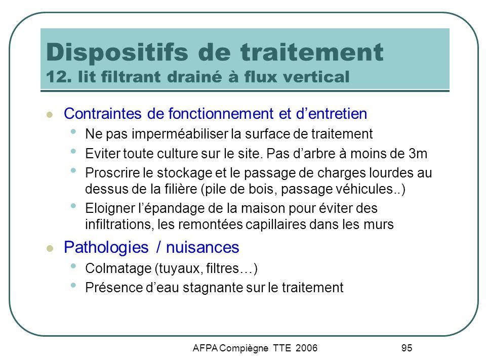 AFPA Compiègne TTE 2006 95 Dispositifs de traitement 12. lit filtrant drainé à flux vertical Contraintes de fonctionnement et dentretien Ne pas imperm