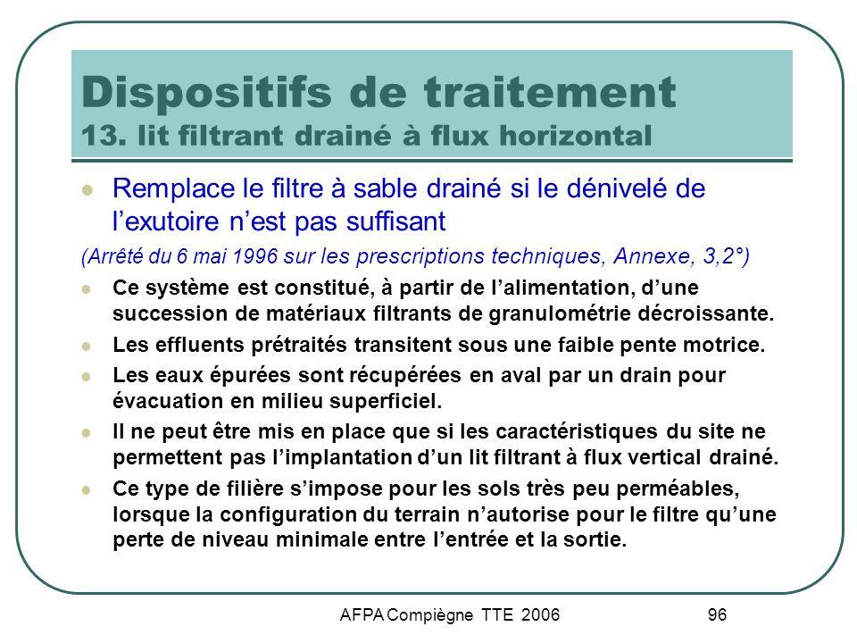 AFPA Compiègne TTE 2006 96 Dispositifs de traitement 13. lit filtrant drainé à flux horizontal Remplace le filtre à sable drainé si le dénivelé de lex
