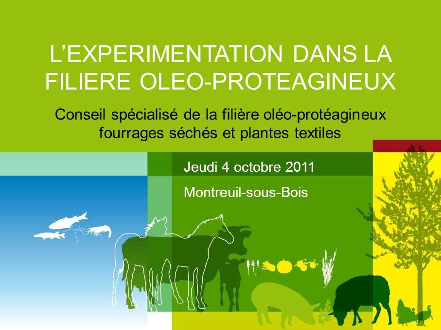 LEXPERIMENTATION DANS LA FILIERE OLEO-PROTEAGINEUX Conseil spécialisé de la filière oléo-protéagineux fourrages séchés et plantes textiles Jeudi 4 oct