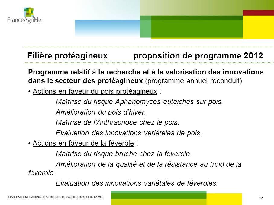 3 Filière protéagineux proposition de programme 2012 Programme relatif à la recherche et à la valorisation des innovations dans le secteur des protéag