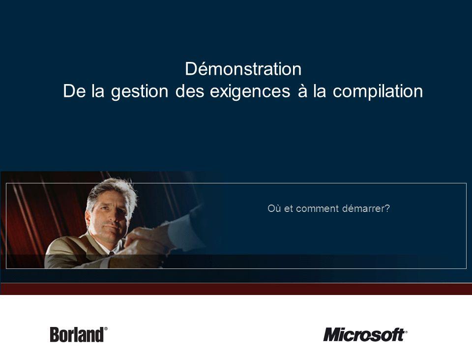 Démonstration De la gestion des exigences à la compilation Où et comment démarrer?