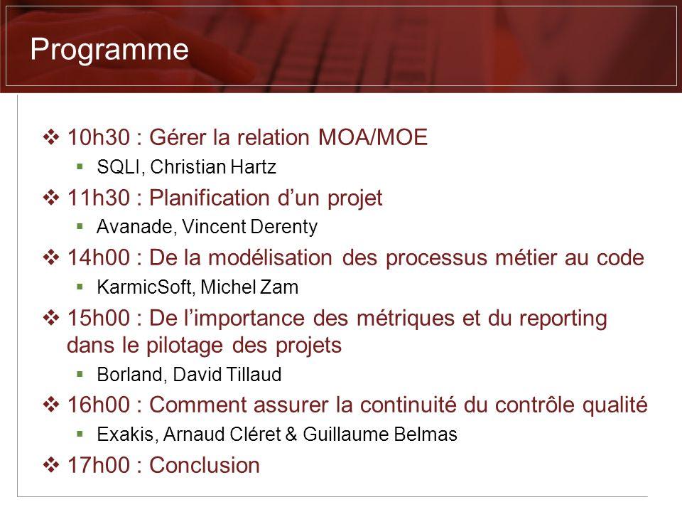 Programme 10h30 : Gérer la relation MOA/MOE SQLI, Christian Hartz 11h30 : Planification dun projet Avanade, Vincent Derenty 14h00 : De la modélisation