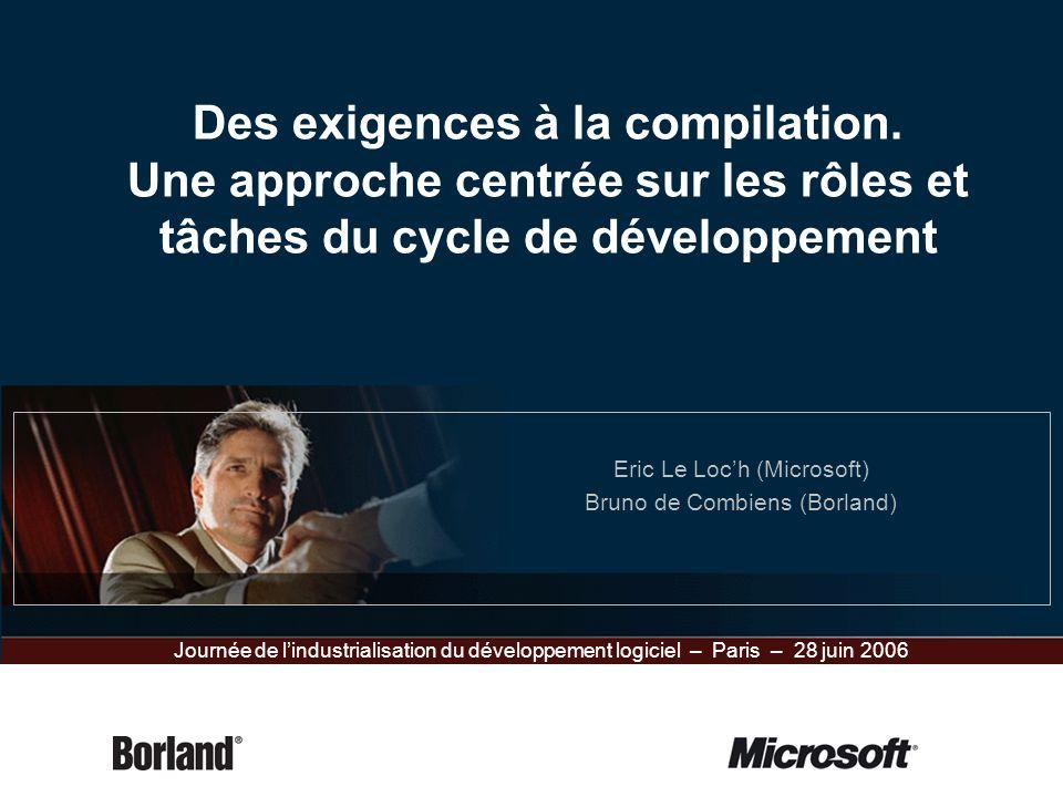 Des exigences à la compilation. Une approche centrée sur les rôles et tâches du cycle de développement Eric Le Loch (Microsoft) Bruno de Combiens (Bor