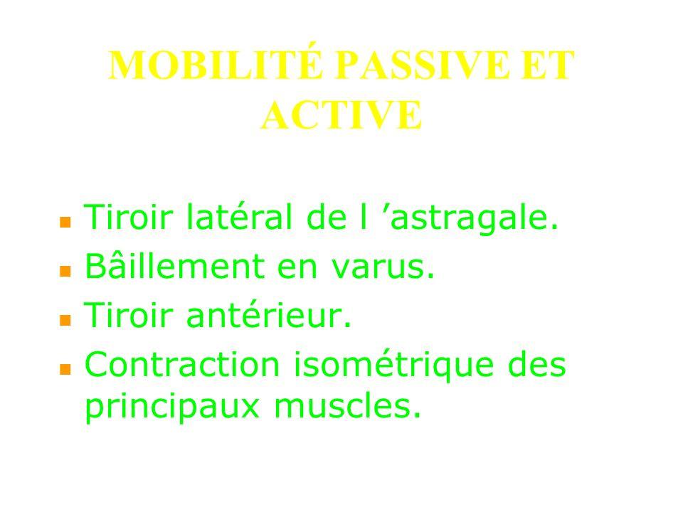 MOBILITÉ PASSIVE ET ACTIVE Tiroir latéral de l astragale. Bâillement en varus. Tiroir antérieur. Contraction isométrique des principaux muscles.