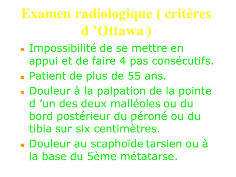 Examen radiologique ( critères d Ottawa ) Impossibilité de se mettre en appui et de faire 4 pas consécutifs. Patient de plus de 55 ans. Douleur à la p