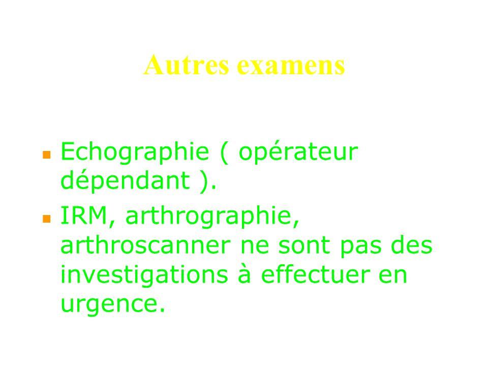 Autres examens Echographie ( opérateur dépendant ). IRM, arthrographie, arthroscanner ne sont pas des investigations à effectuer en urgence.