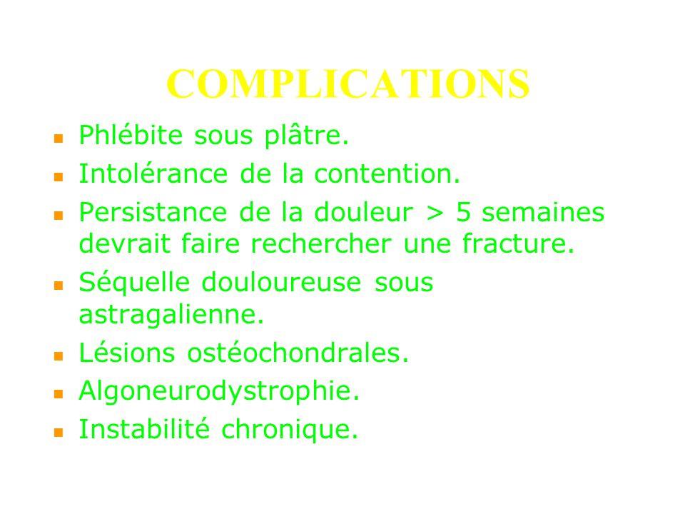 COMPLICATIONS Phlébite sous plâtre. Intolérance de la contention. Persistance de la douleur > 5 semaines devrait faire rechercher une fracture. Séquel