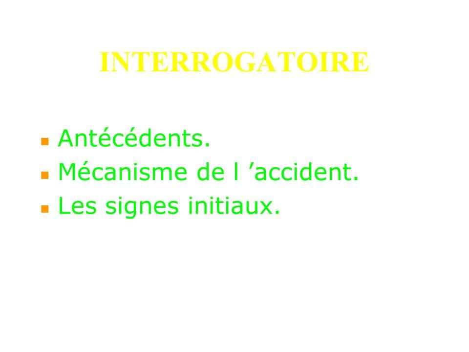 INTERROGATOIRE Antécédents. Mécanisme de l accident. Les signes initiaux.