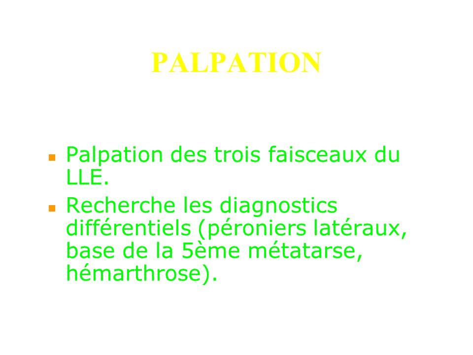 PALPATION Palpation des trois faisceaux du LLE. Recherche les diagnostics différentiels (péroniers latéraux, base de la 5ème métatarse, hémarthrose).