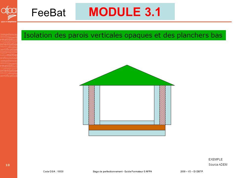 Code OSIA : 10030 Stage de perfectionnement - Guide Formateur © AFPA 2009 – V3 – DI DBTP. 18 EXEMPLE Source ADEM MODULE 3.1 FeeBat Isolation des paroi