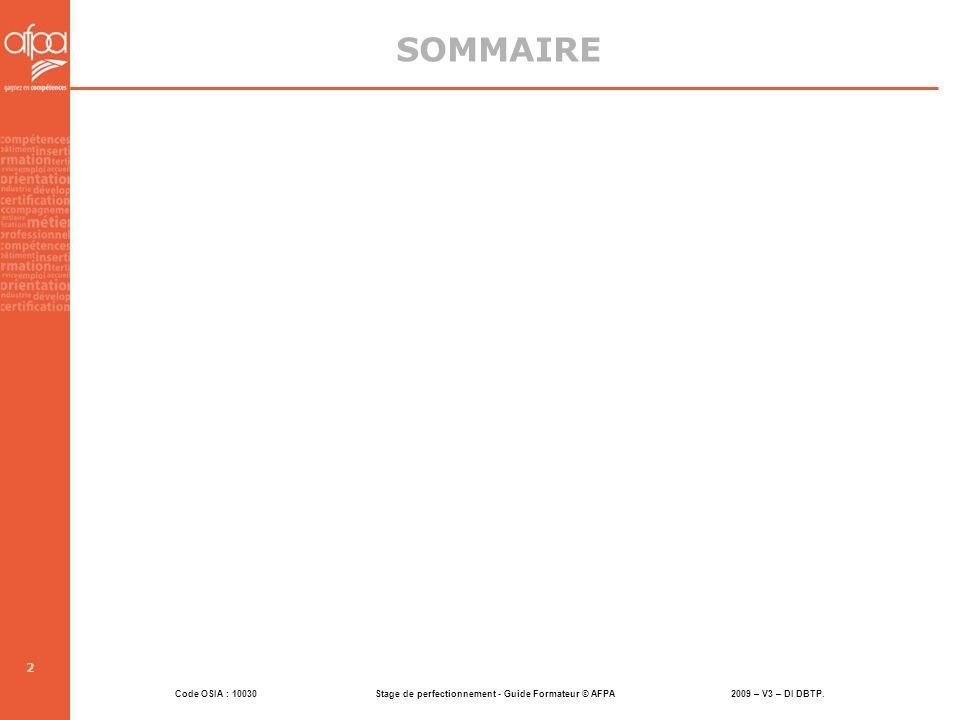 Code OSIA : 10030 Stage de perfectionnement - Guide Formateur © AFPA 2009 – V3 – DI DBTP. 2 SOMMAIRE
