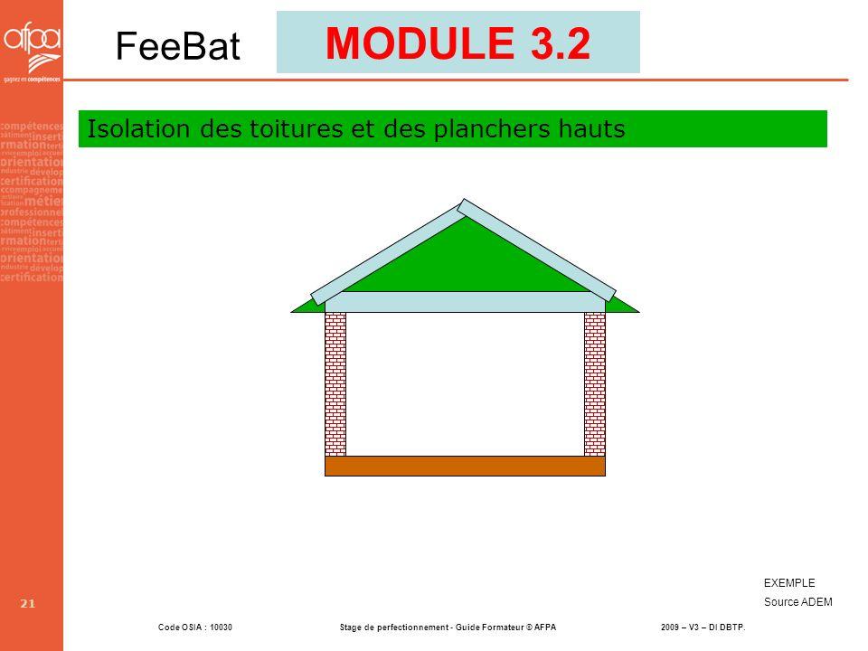 Code OSIA : 10030 Stage de perfectionnement - Guide Formateur © AFPA 2009 – V3 – DI DBTP. 21 EXEMPLE Source ADEM MODULE 3.2 FeeBat Isolation des toitu