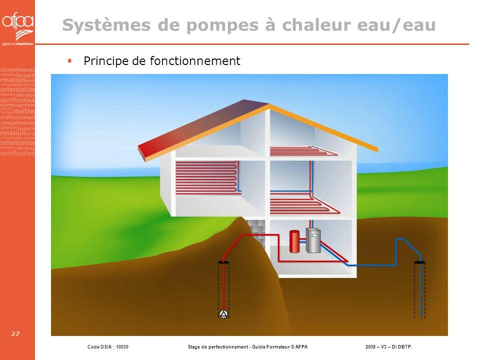 Code OSIA : 10030 Stage de perfectionnement - Guide Formateur © AFPA 2009 – V3 – DI DBTP. 27 Systèmes de pompes à chaleur eau/eau Principe de fonction