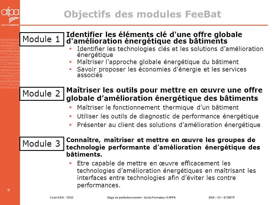 Code OSIA : 10030 Stage de perfectionnement - Guide Formateur © AFPA 2009 – V3 – DI DBTP. 9 Objectifs des modules FeeBat Identifier les éléments clé d