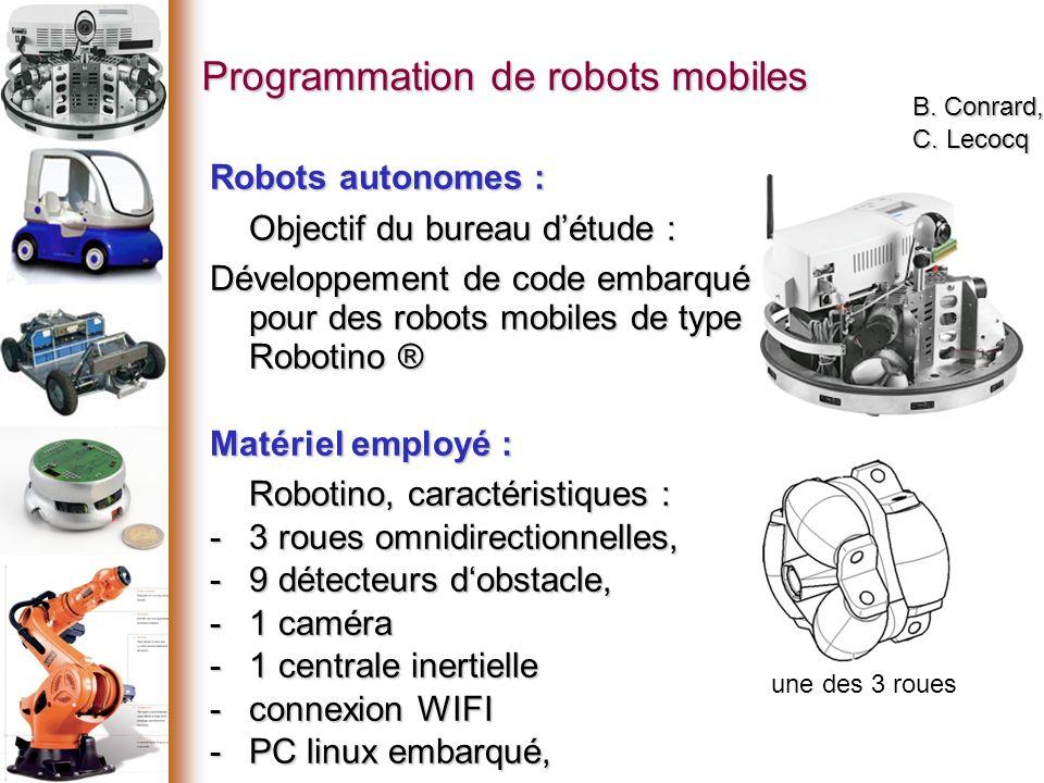 Programmation de robots mobiles B.Conrard, C.