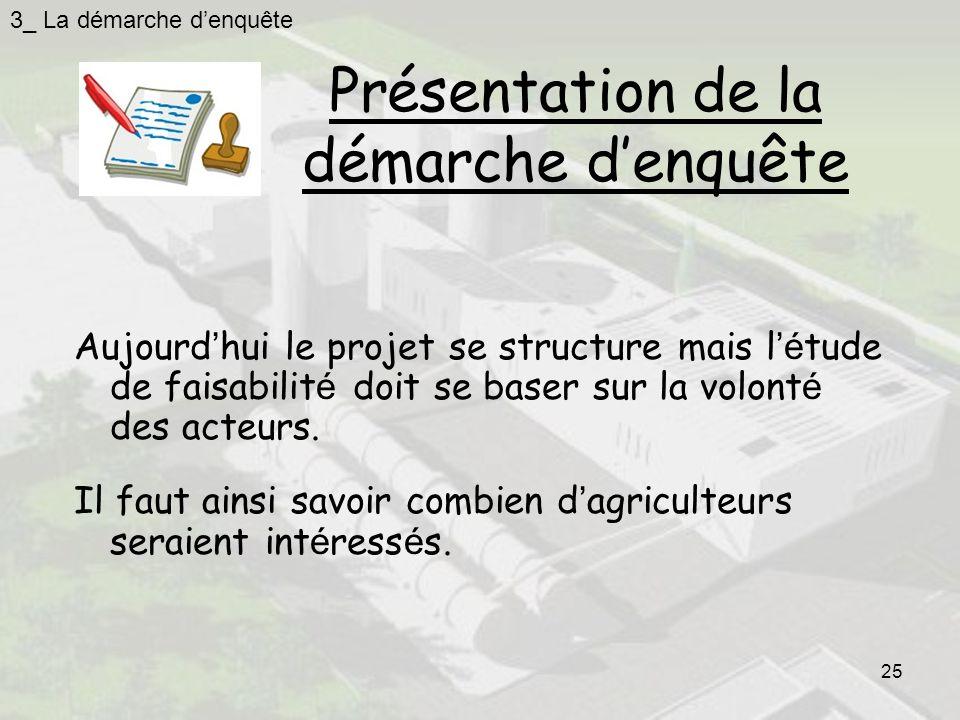 25 Présentation de la démarche denquête Aujourd hui le projet se structure mais l é tude de faisabilit é doit se baser sur la volont é des acteurs.