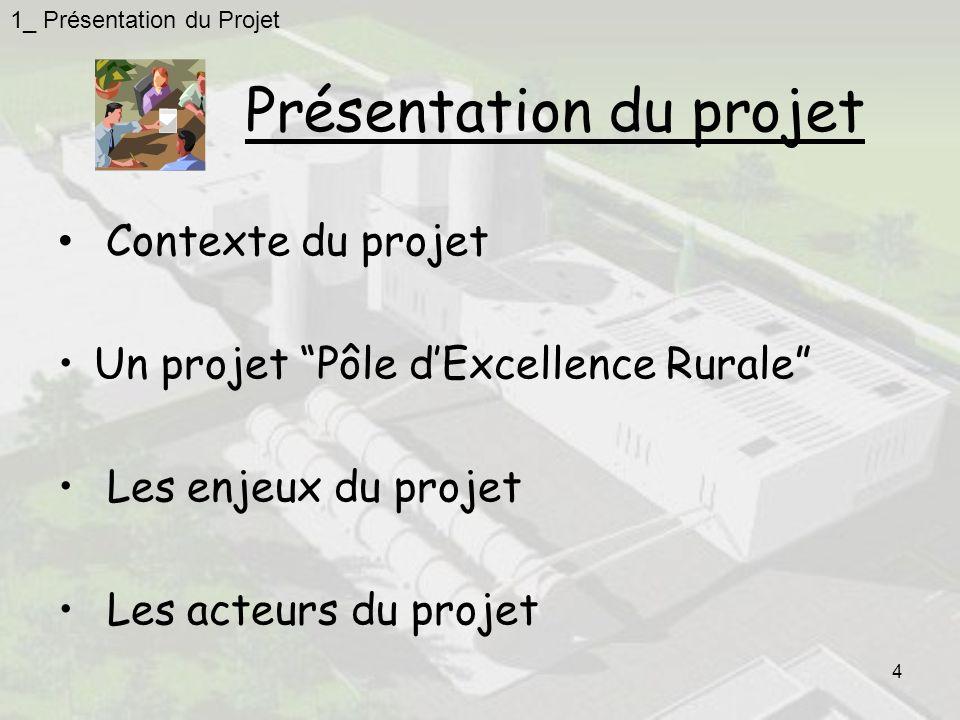 4 Présentation du projet Contexte du projet Un projet Pôle dExcellence Rurale Les enjeux du projet Les acteurs du projet 1_ Présentation du Projet