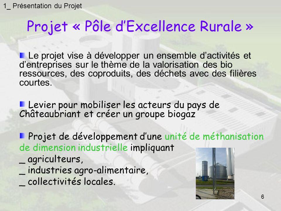 6 Projet « Pôle dExcellence Rurale » 1_ Présentation du Projet Le projet vise à développer un ensemble dactivités et dentreprises sur le thème de la valorisation des bio ressources, des coproduits, des déchets avec des filières courtes.