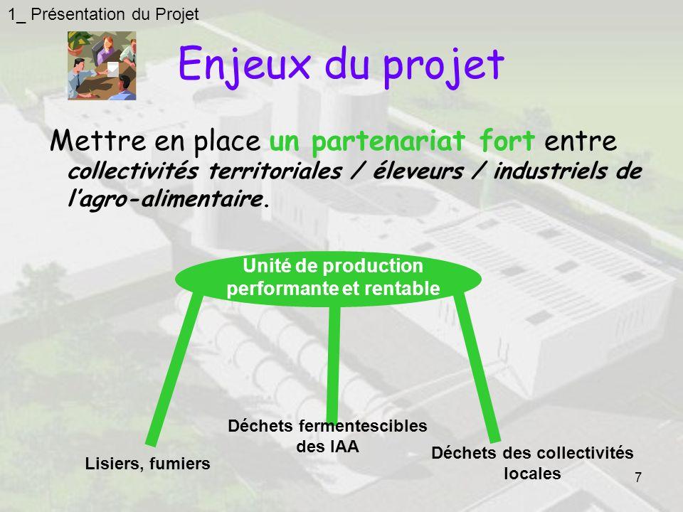 7 Enjeux du projet Mettre en place un partenariat fort entre collectivités territoriales / éleveurs / industriels de lagro-alimentaire.