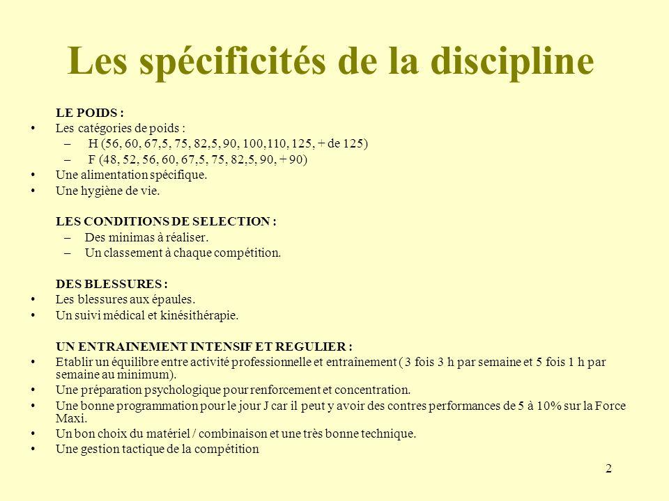 2 Les spécificités de la discipline LE POIDS : Les catégories de poids : – H (56, 60, 67,5, 75, 82,5, 90, 100,110, 125, + de 125) – F (48, 52, 56, 60,
