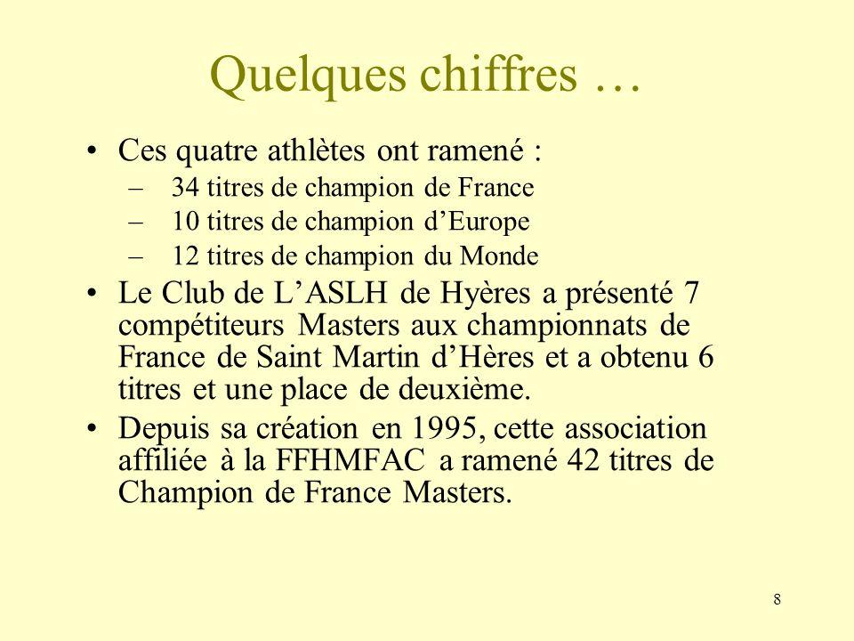 8 Quelques chiffres … Ces quatre athlètes ont ramené : –34 titres de champion de France –10 titres de champion dEurope –12 titres de champion du Monde