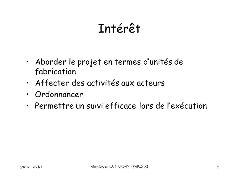 gestion projetAlain Lopes -IUT ORSAY - PARIS XI4 Intérêt Aborder le projet en termes dunités de fabrication Affecter des activités aux acteurs Ordonnancer Permettre un suivi efficace lors de lexécution