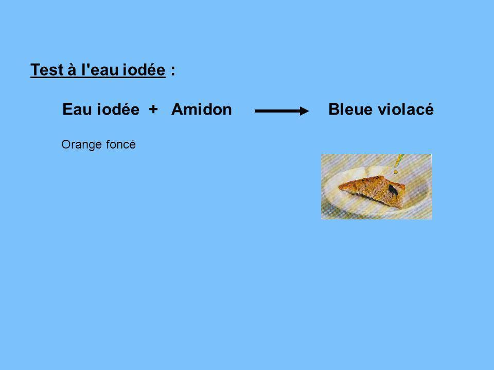 Test à l'eau iodée : Eau iodée + Amidon Bleue violacé Orange foncé