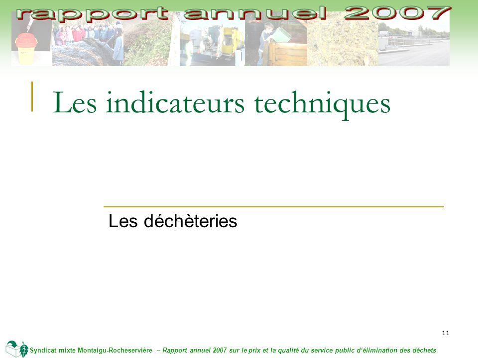 11 Syndicat mixte Montaigu-Rocheservière – Rapport annuel 2007 sur le prix et la qualité du service public délimination des déchets Les indicateurs techniques Les déchèteries