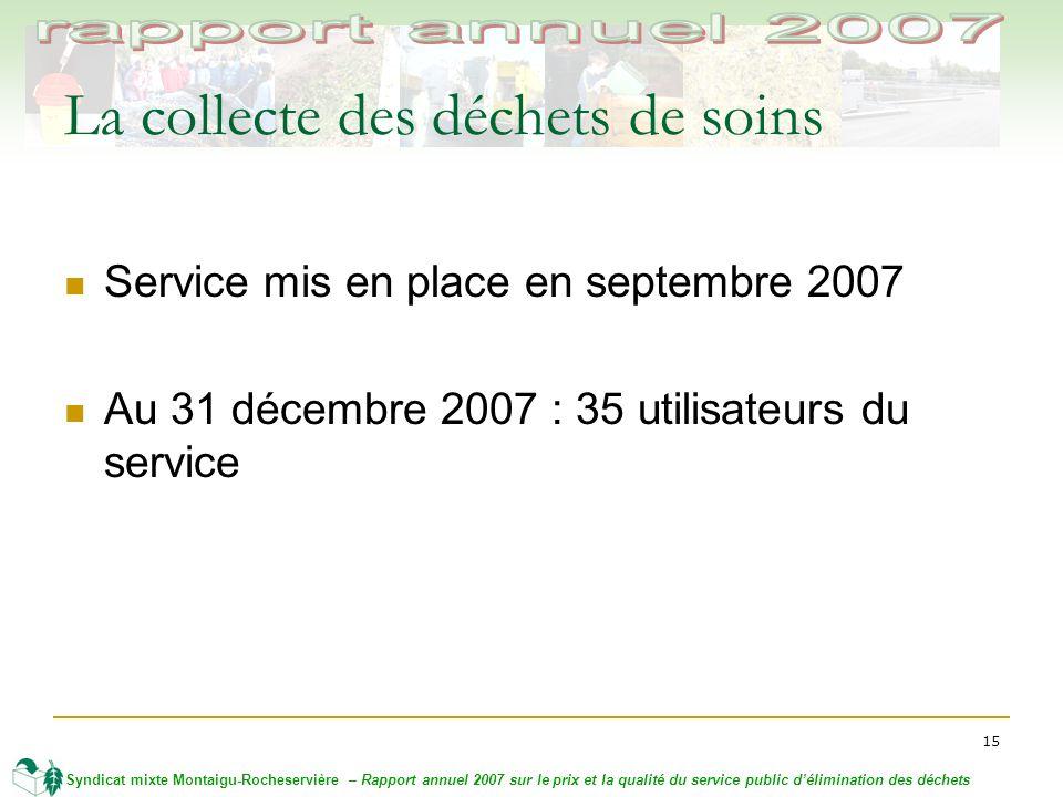15 Syndicat mixte Montaigu-Rocheservière – Rapport annuel 2007 sur le prix et la qualité du service public délimination des déchets La collecte des déchets de soins Service mis en place en septembre 2007 Au 31 décembre 2007 : 35 utilisateurs du service