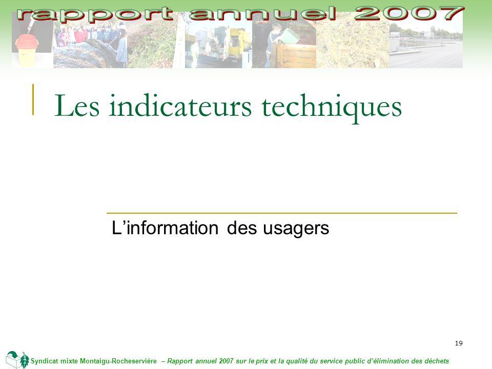 19 Syndicat mixte Montaigu-Rocheservière – Rapport annuel 2007 sur le prix et la qualité du service public délimination des déchets Les indicateurs techniques Linformation des usagers